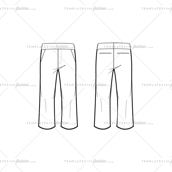 Women's Pants Fashion Flat Template