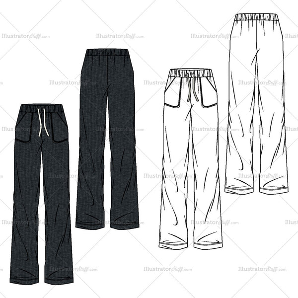 Women's Ultra Wide Trouser Fashion Flat Template