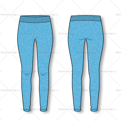 Women's Fashion Seamless legging Flat Template
