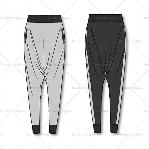 Women's Harem Pants Fashion Flat Template