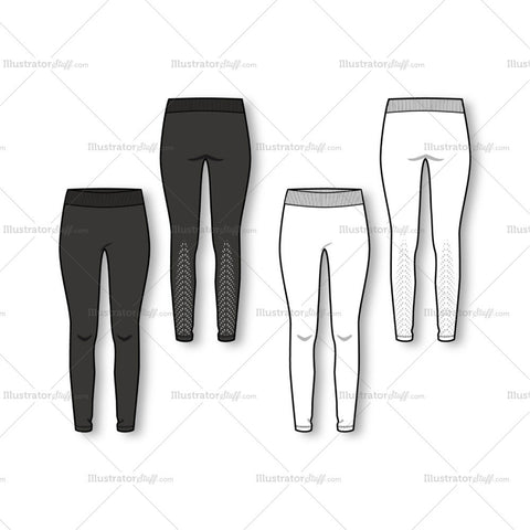 Women's Fashion Seamless Legging Flat Template.