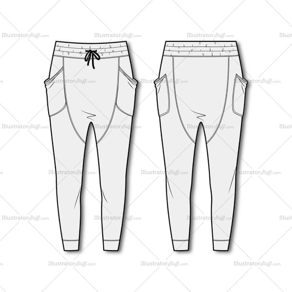 Women's Drop Crotch Joggers Flat Template.