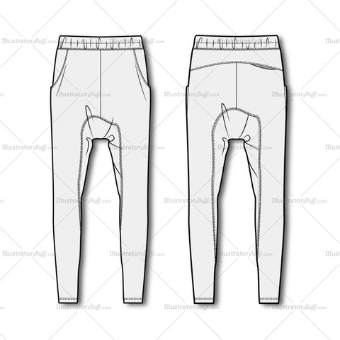 Men's Drop Crotch Joggers Fashion Flat Template.