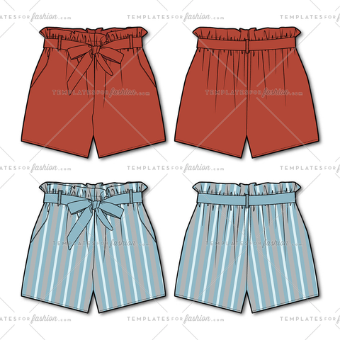 Women's Paper bag Shorts