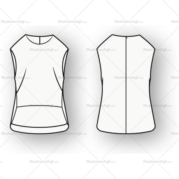 Women's Vest Fashion Flat Template With Longer Hemline