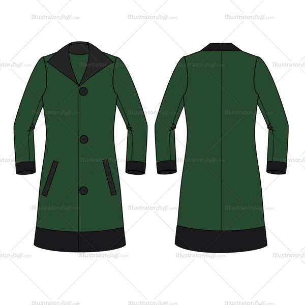 Women's Long Pea Coat Fashion Flat Template