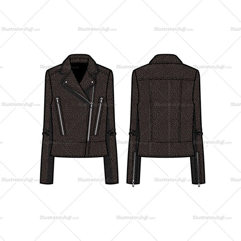 Peplum Leather Jacket Flat Template