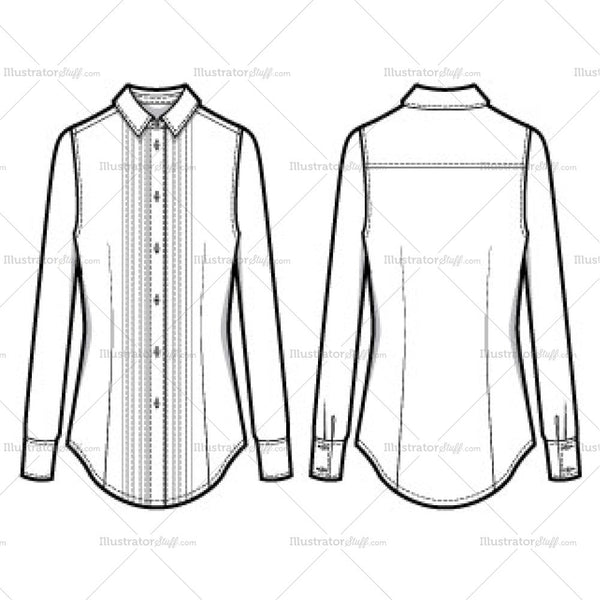 Women's Pleated Long Sleeve Button Down Shirt Fashion Flat Template