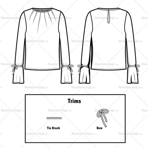Pleated Top With Tied At Sleeves Flat Template