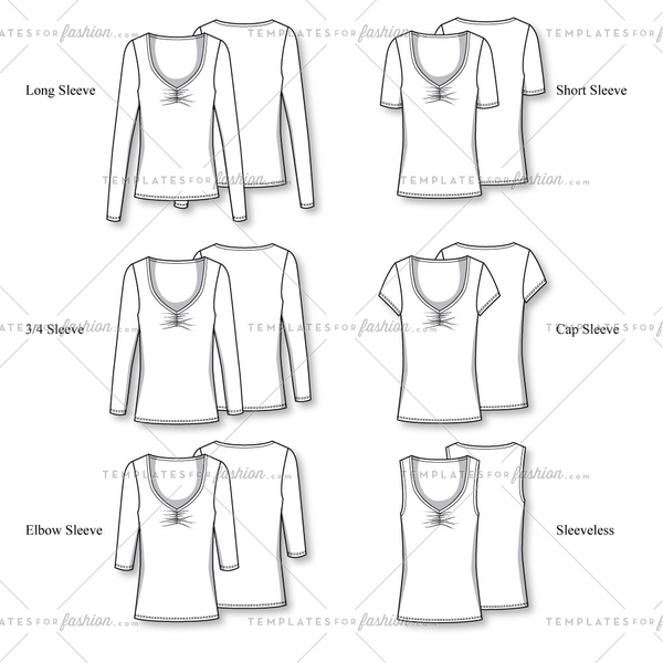 Women's Plunging Neckline Tee T-Shirt with various sleeve lengths