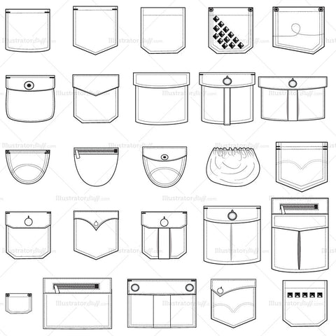 {Illustrator Stuff} Pocket Fashion Flat Templates