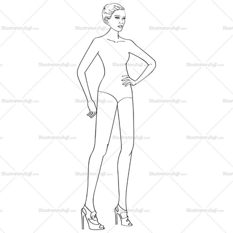 Runway Fashion Profile Croquis Figure Template