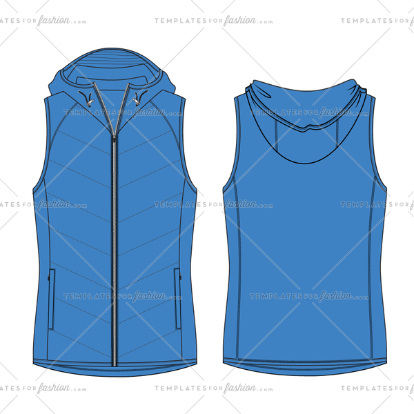 QUILTED VEST WITH HOOD FASHION FLAT VECTOR FILE
