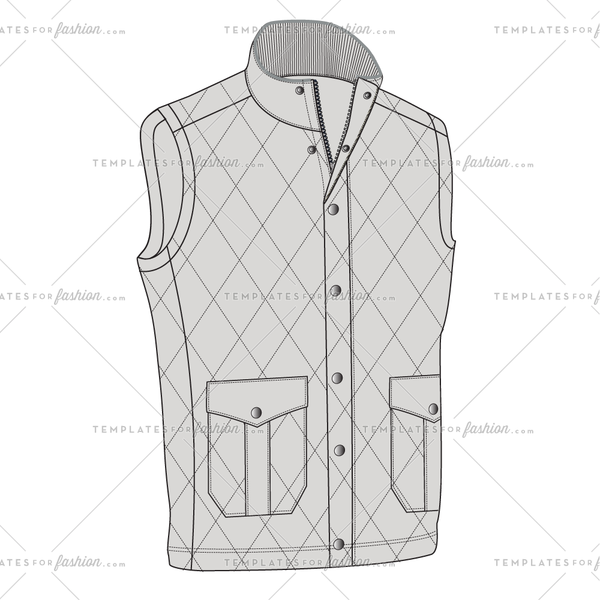 Quilted Vest Fashion Flat Vector Template