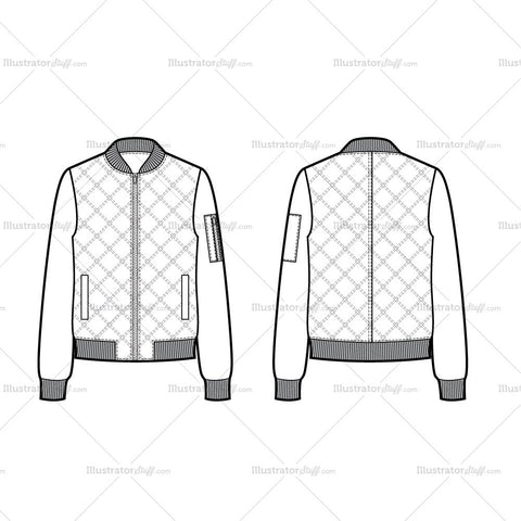 Quilted Bomber Jacket Flat Template