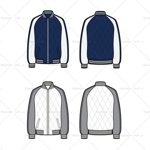 Quilted Bomber Flat Template