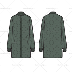 Unisex Quilted Elongated Bomber Flat Template