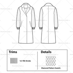 Quilted Sleeve Coat Flat Template