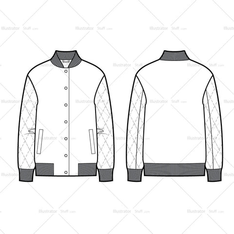 Quilted Sleeves Bomber Jacket Flat Template