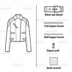 Quilted Upper Arm Moto Jacket Flat Template
