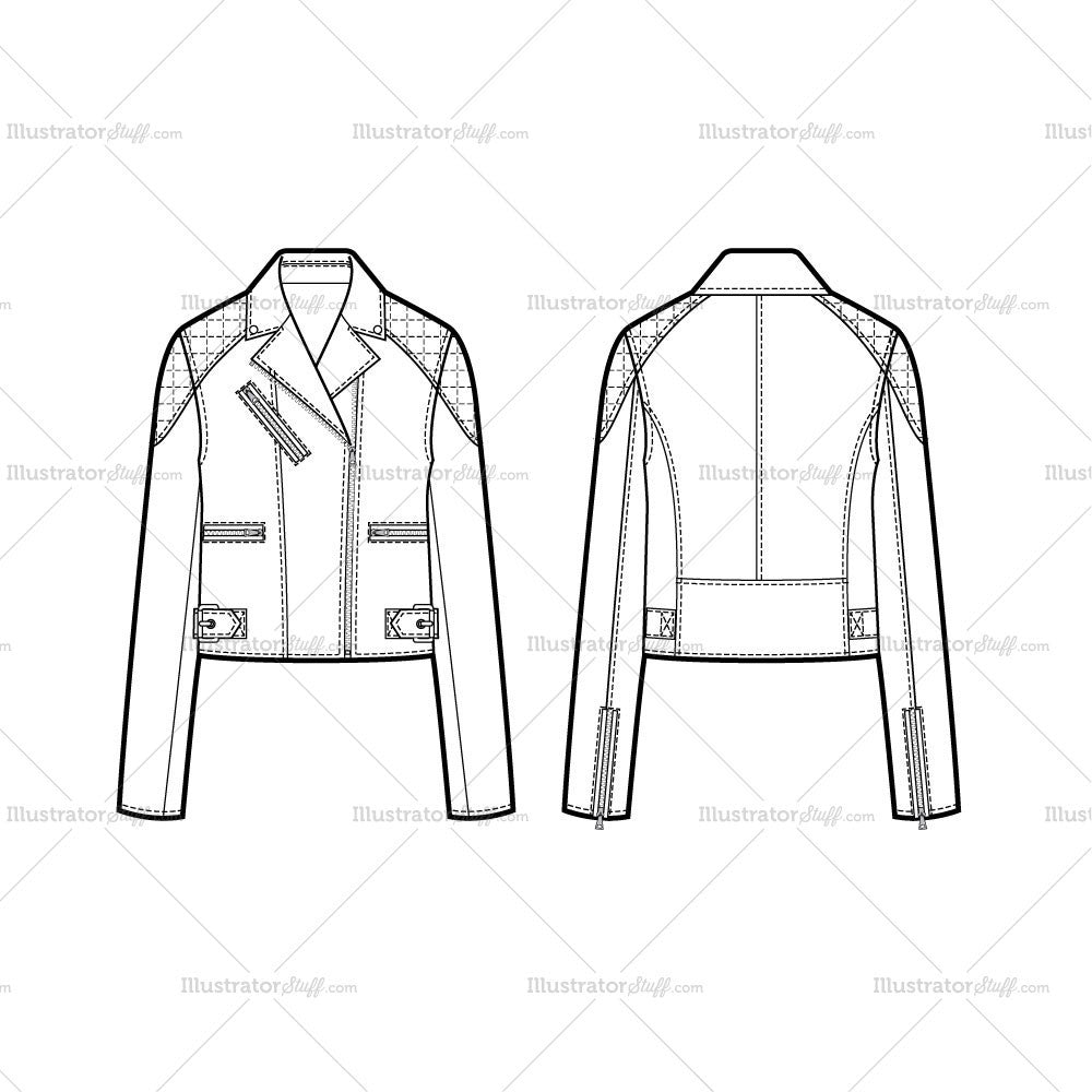 Quilted Upper Arm Moto Jacket Flat Template Illustrator