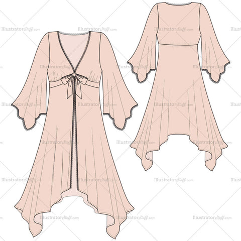 Women's Ballerina Robe Fashion Flat Template