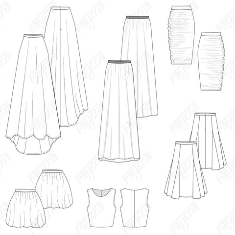 Women's Cocktail Skirts Pack Fashion Flat Template
