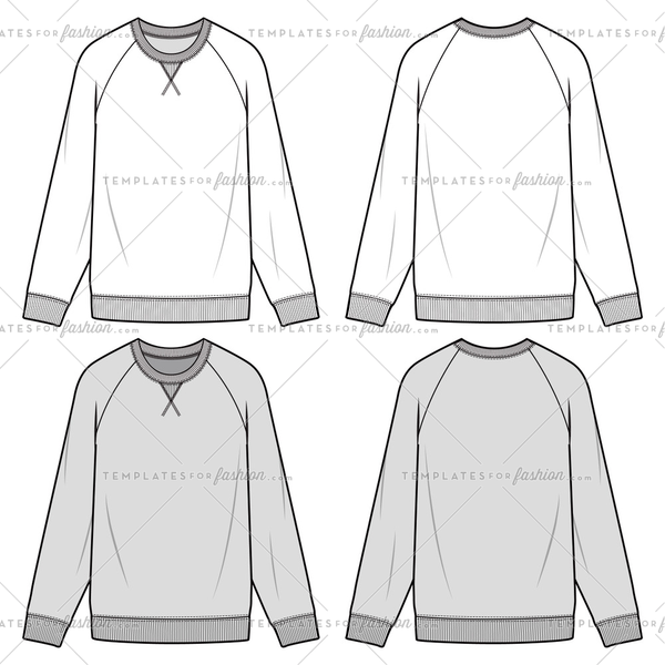 RAGLAN SWEATSHIRTS fashion flat sketch template