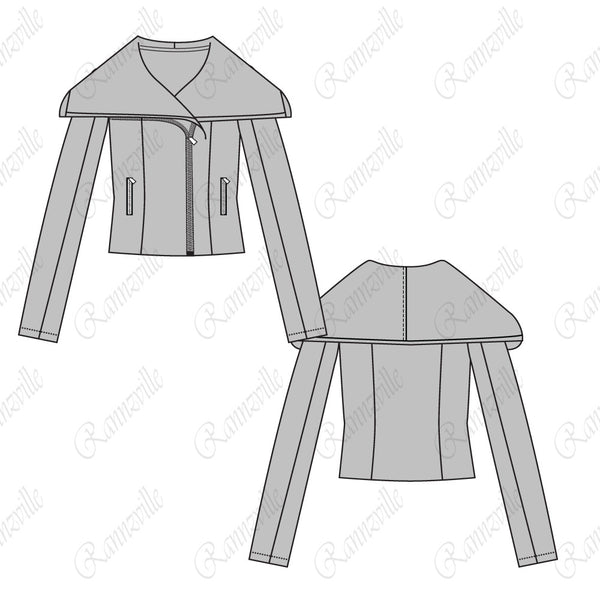 {Illustrator Stuff} Women's Shawl Collar Jacket Fashion Flat Template