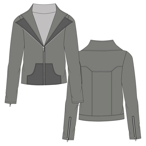 Women's Rider Jacket Fashion Flat Template