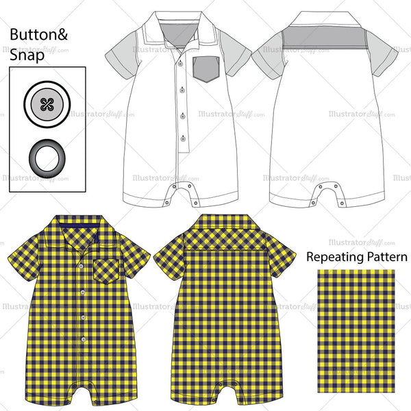 Toddler's Romper Fashion Flat Templates