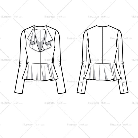 Ruffle Fitted Blazer Flat Template
