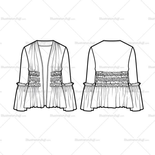 Ruffle Jacket Flat Template