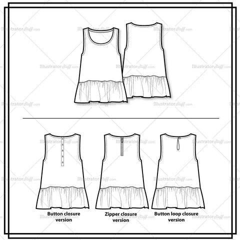 Ruffled Hem Tank Top Flat Template