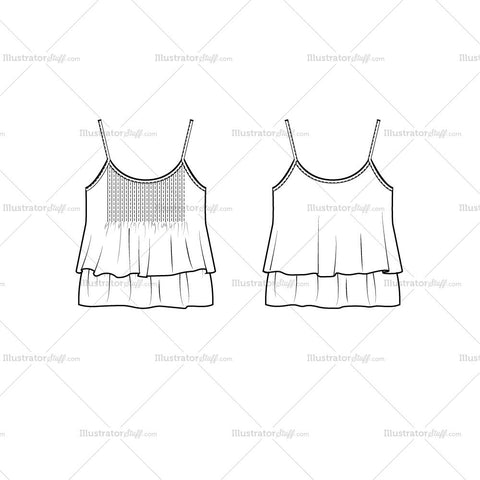Ruffled Tank Flat Template