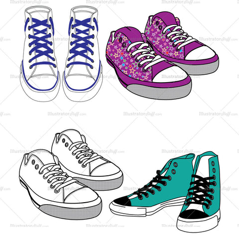 {Illustrator Stuff} Converse Shoe Fashion Flat Template