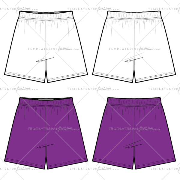 SHORT PANTS fashion flat sketch template
