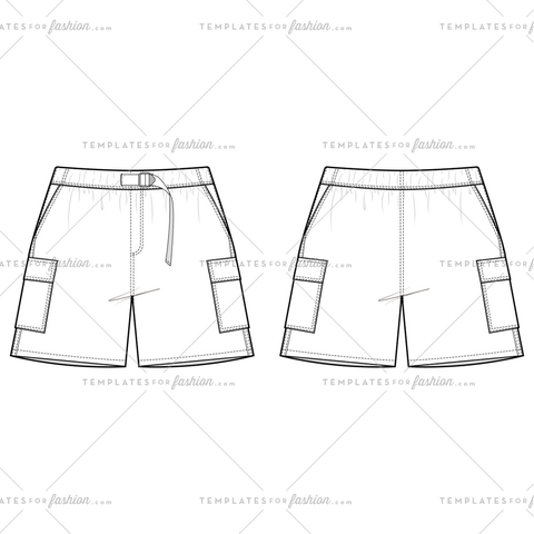 SHORT PANTS Fashion Flat Templates