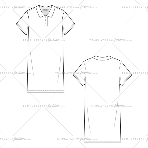SHORT SLEEVE POLO DRESS Fashion Flat Templates