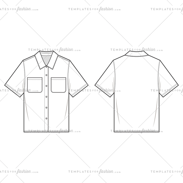 SHORT SLEEVE SHIRTS fashion flat sketch template