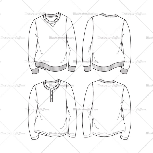 Men's Sweatshirt & Henley Fashion Flat Template