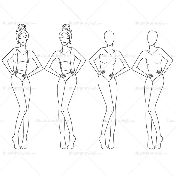 {Illustrator Stuff} Women's Fashion Croquis Template