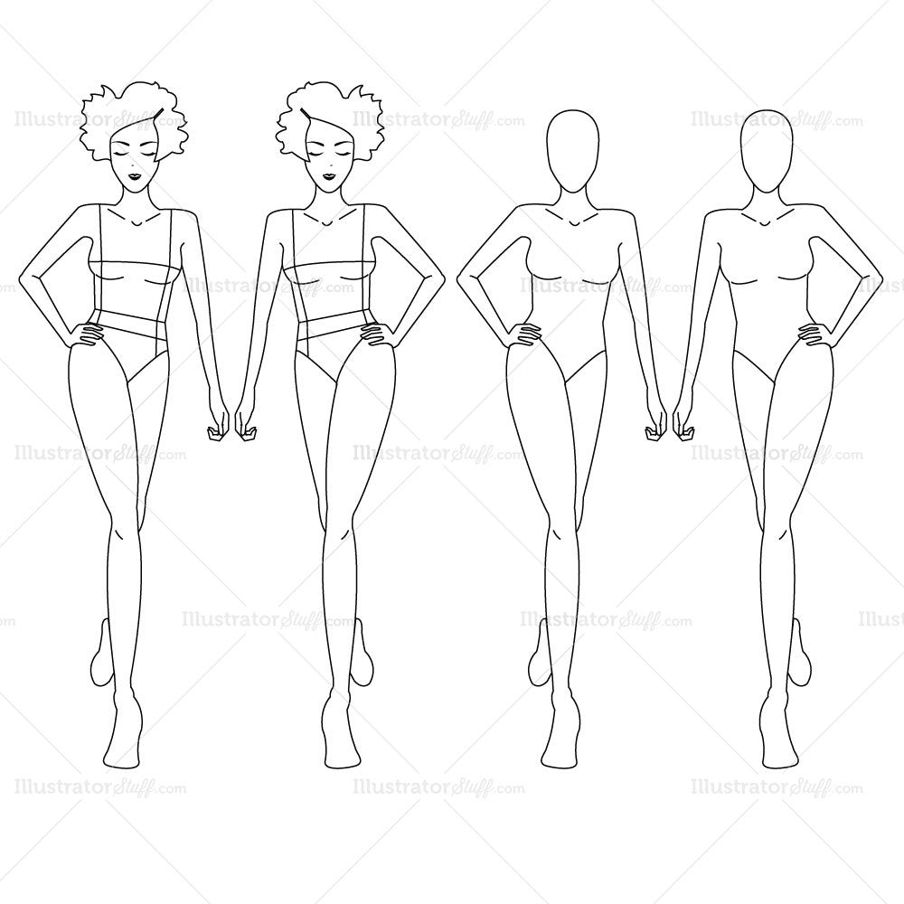 Female fashion croquis template templates for fashion for Clothing templates for illustrator