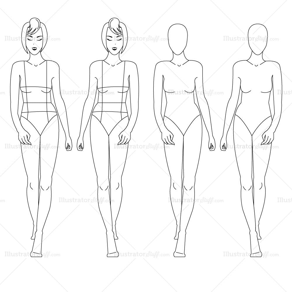 Female fashion croquis template templates for fashion for Fashion designer drawing template