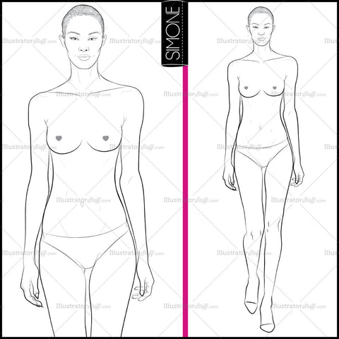 Female Runway Croquis Template: Simone