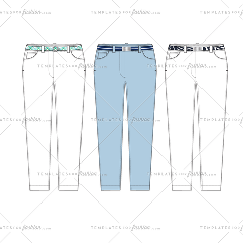 Skinny Jean with Belt Fashion Flat Vector Template
