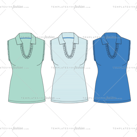 Sleeveless Ruffle Top Fashion Flat Vector Template