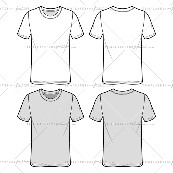 SLIM FIT TEE fashion flat sketch template