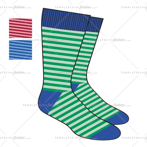 STRIPE SOCK FASHION FLAT VECTOR FILE