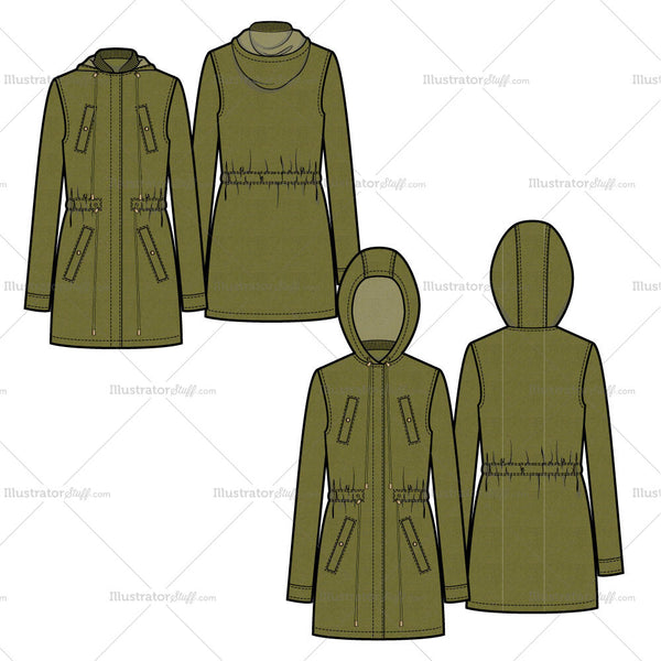 Summer Parka Flat Template